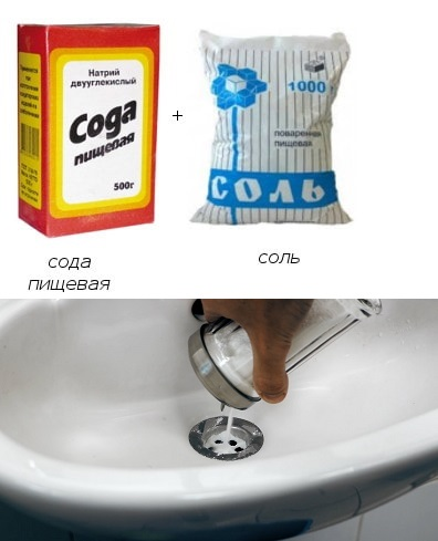 Сода и соль - для предупреждения образования в канализации мыльно-жировых пробок