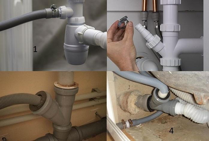 Подключение стиральной машины к водопроводу и канализации сопровождается монтажом сливной трубы