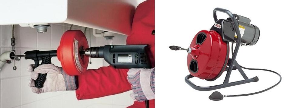 Электрический трос для прочистки канализации.