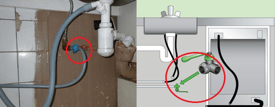Подключение посудомоечной машины к водопроводу и канализации через тройник.