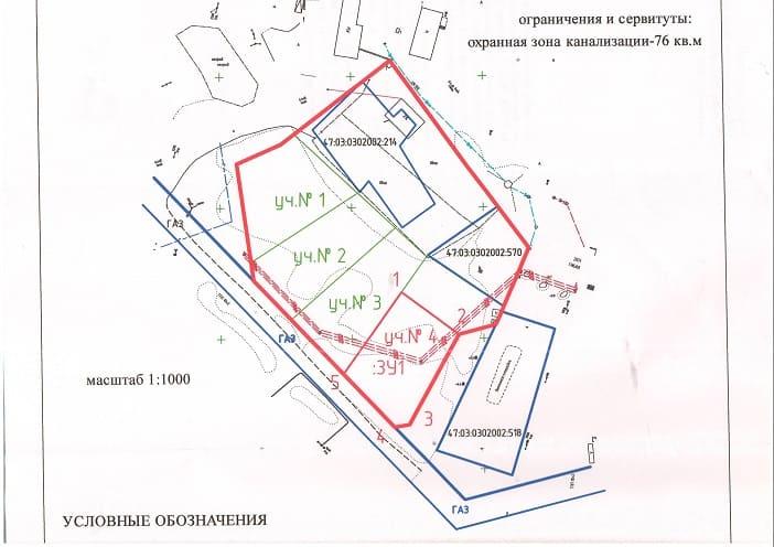 Охранная зона канализации - условные обозначения на чертеже