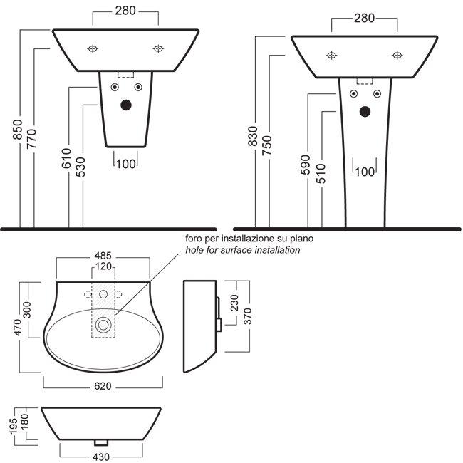Высота вывода канализации под умывальник - пример отвода в стену