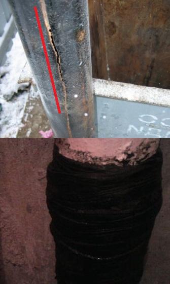 Пример чем заделать трещину в чугунной канализационной трубе.
