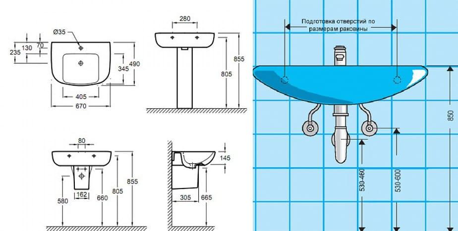 Высота вывода канализации под умывальник - пример схемы подвода