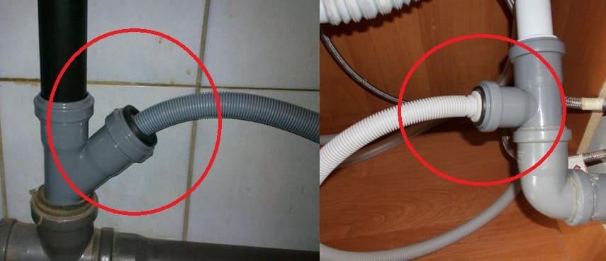 Подключение посудомоечной машины к водопроводу и канализации с помощью сифона или тройника.