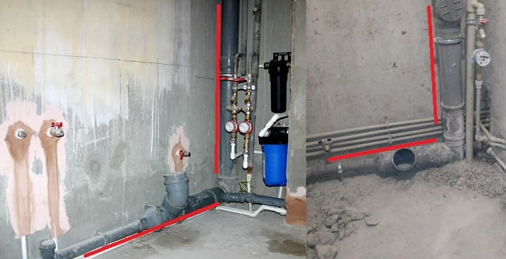Замена канализационных труб в квартире, а именно пример лежака и стояка.