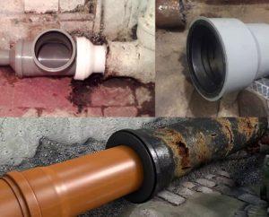 Как соединить чугунную канализационную трубу с пластиковой: способы и видеообзор