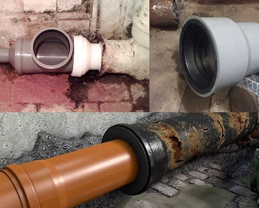 Соединение чугунных труб канализации
