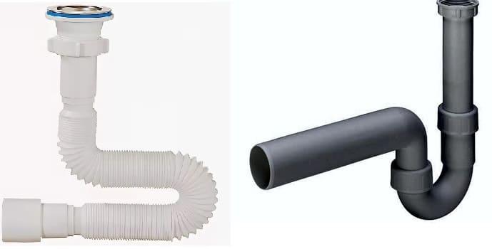 Гидрозатвор для канализации, пример гофры и U - образного варианта.