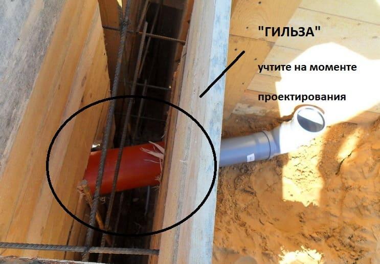 """Прокладка канализации под фундаментом с помощью """"гильз""""."""