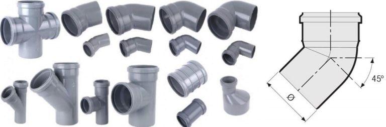 Отводы канализационные пластиковые 110, размеры и виды