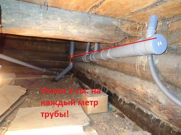 Канализация в деревянном доме прокладывается таким образом, что на каждый метр трубы делается уклон 2 см.