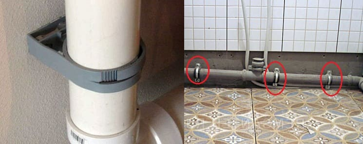Крепление канализационной трубы к стене
