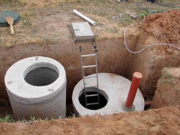 Переливная канализация с помощью колодцев
