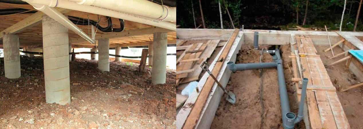канализация в доме на винтовых сваях