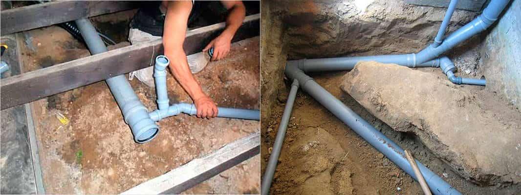 укладка канализации под бетонной стяжкой
