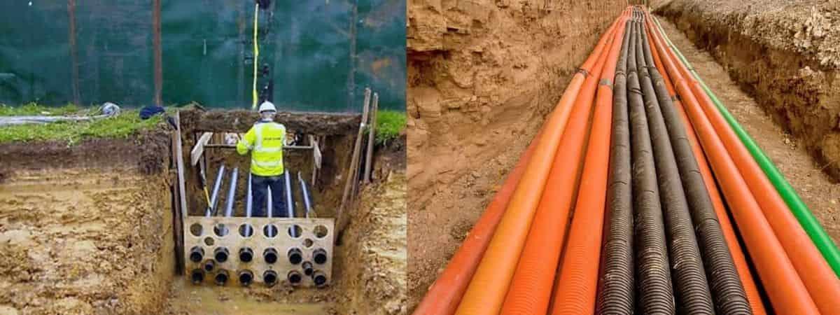 Прокладка кабелей в блочной канализации