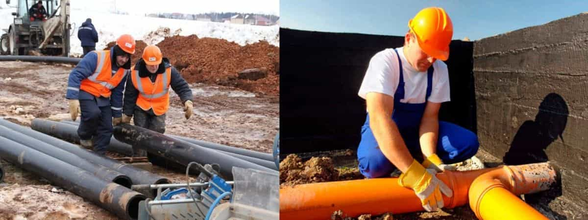 Монтаж наружных сетей водопровода и канализации